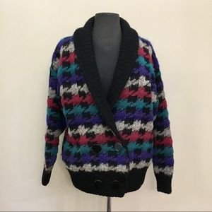 PGE Mohair Blend Knit Houndstooth Sweater Cardigan